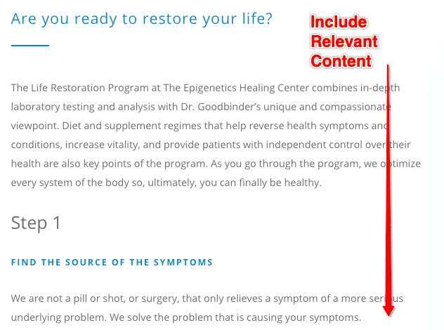 Minimizing Irrelevant Content for Website SEO